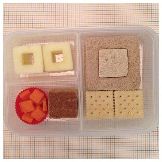 It's a Square Affair ◾️soy and jelly sandwich, cheese crackers, square-shaped apples, square-shaped carrots, and a square cereal fruit bar.